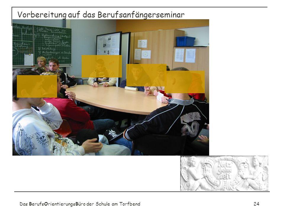 Das BerufsOrientierungsBüro der Schule am Torfbend24 Vorbereitung auf das Berufsanfängerseminar