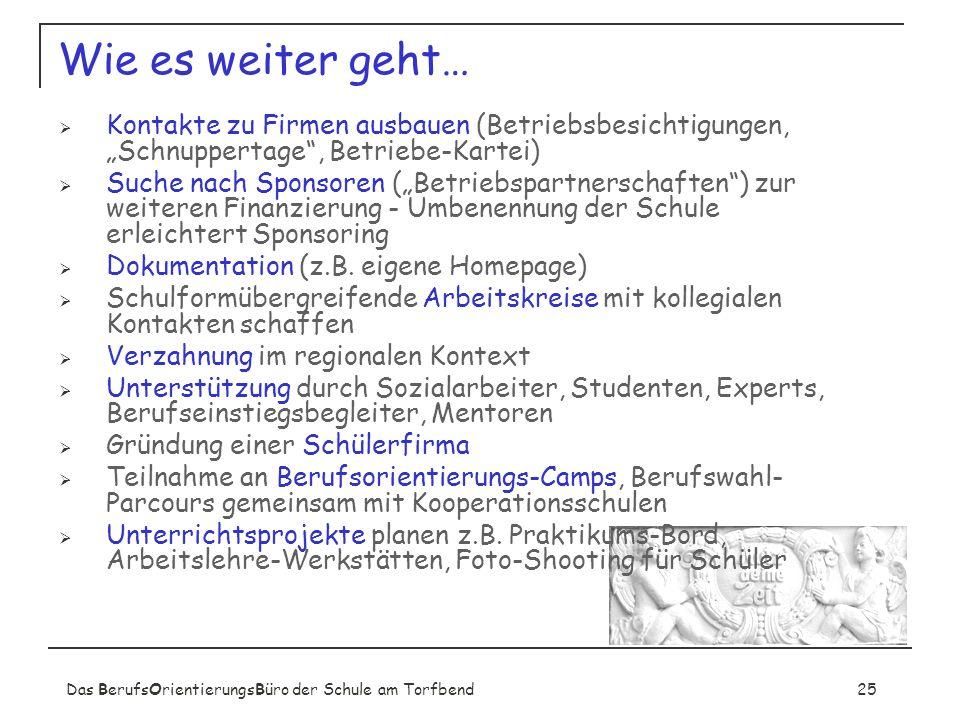 Das BerufsOrientierungsBüro der Schule am Torfbend25 Wie es weiter geht… Kontakte zu Firmen ausbauen (Betriebsbesichtigungen, Schnuppertage, Betriebe-