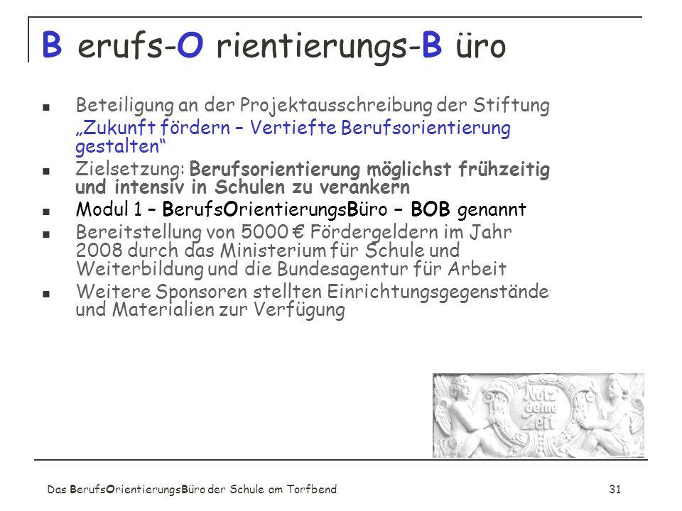 Das BerufsOrientierungsBüro der Schule am Torfbend31 B erufs-O rientierungs-B üro Beteiligung an der Projektausschreibung der Stiftung Zukunft fördern