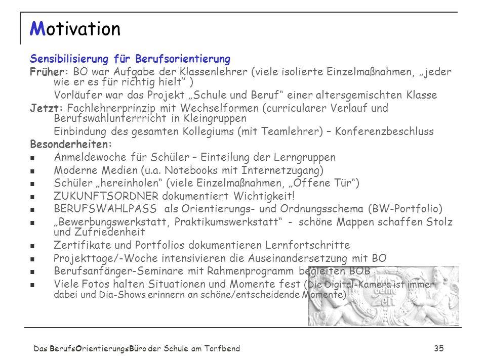 Das BerufsOrientierungsBüro der Schule am Torfbend35 Motivation Sensibilisierung für Berufsorientierung Früher: BO war Aufgabe der Klassenlehrer (viel