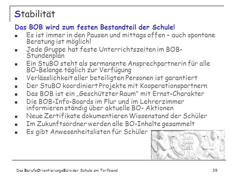 Das BerufsOrientierungsBüro der Schule am Torfbend39 Stabilität Das BOB wird zum festen Bestandteil der Schule.
