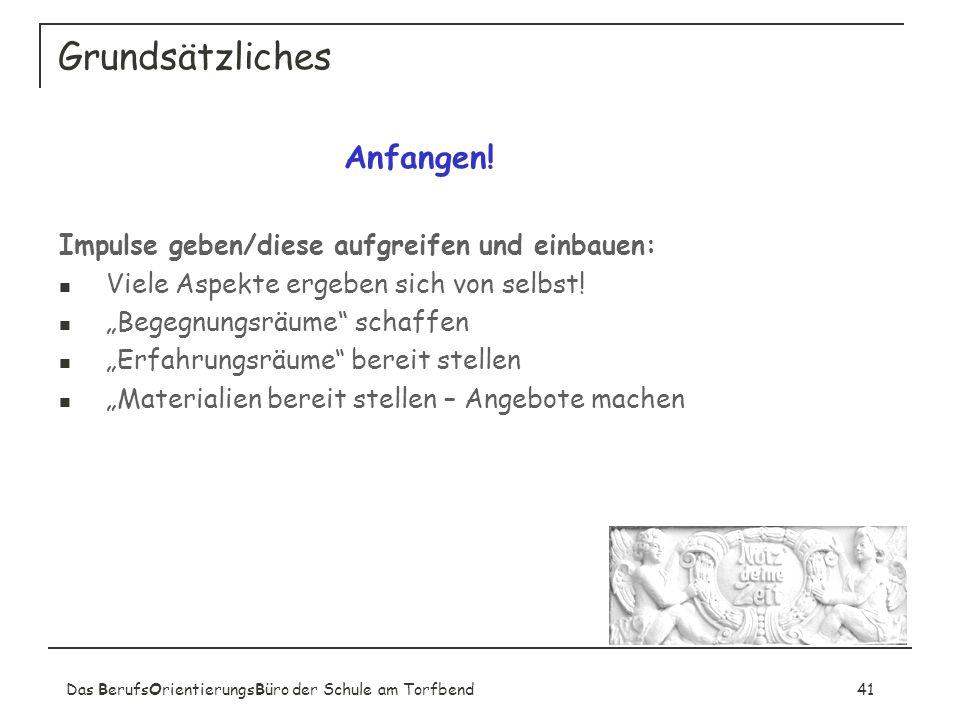 Das BerufsOrientierungsBüro der Schule am Torfbend41 Grundsätzliches Anfangen.
