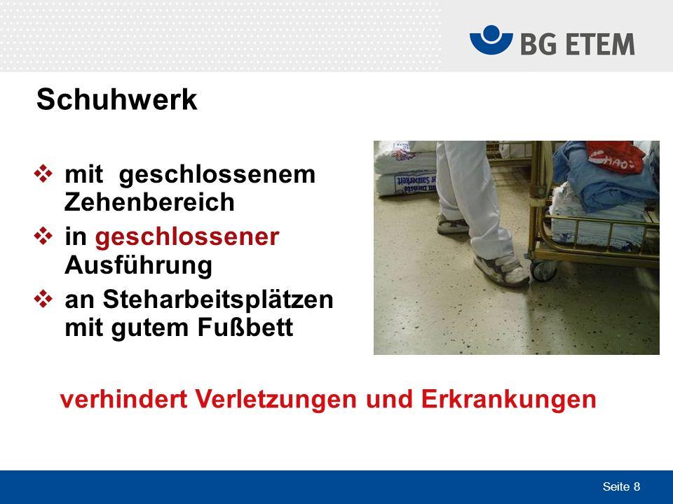 Seite 8 mit geschlossenem Zehenbereich in geschlossener Ausführung an Steharbeitsplätzen mit gutem Fußbett Foto verhindert Verletzungen und Erkrankung