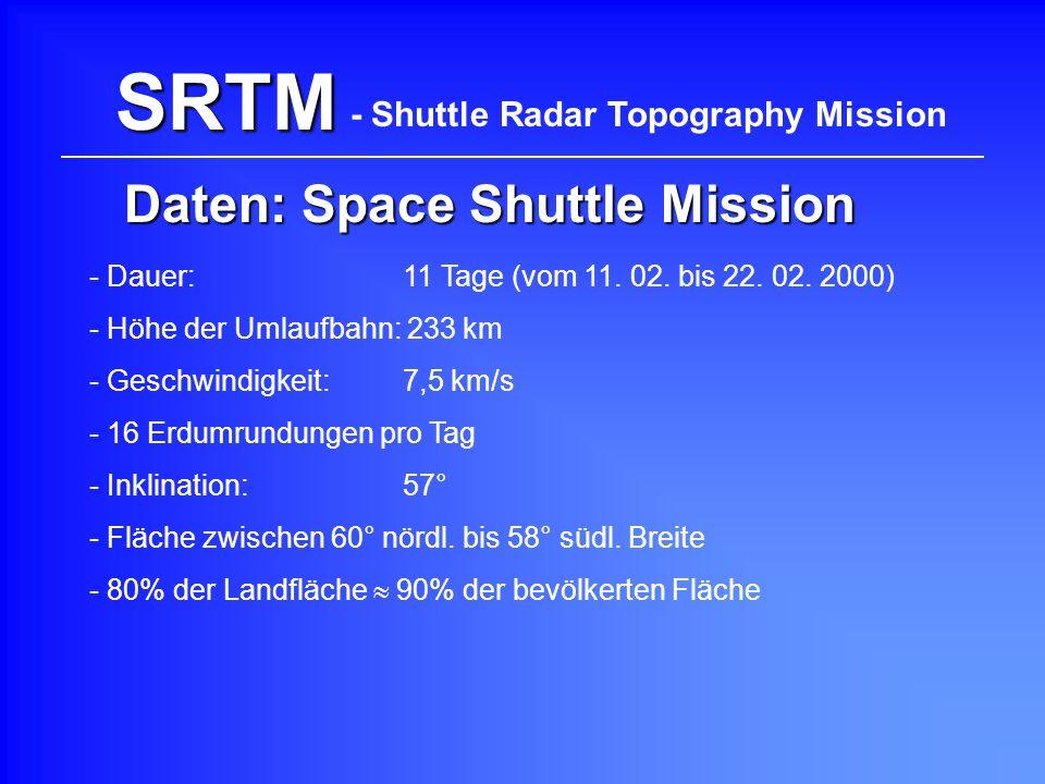 - Dauer: 11 Tage (vom 11. 02. bis 22. 02. 2000) - Höhe der Umlaufbahn: 233 km - Inklination:57° - 16 Erdumrundungen pro Tag - Geschwindigkeit:7,5 km/s