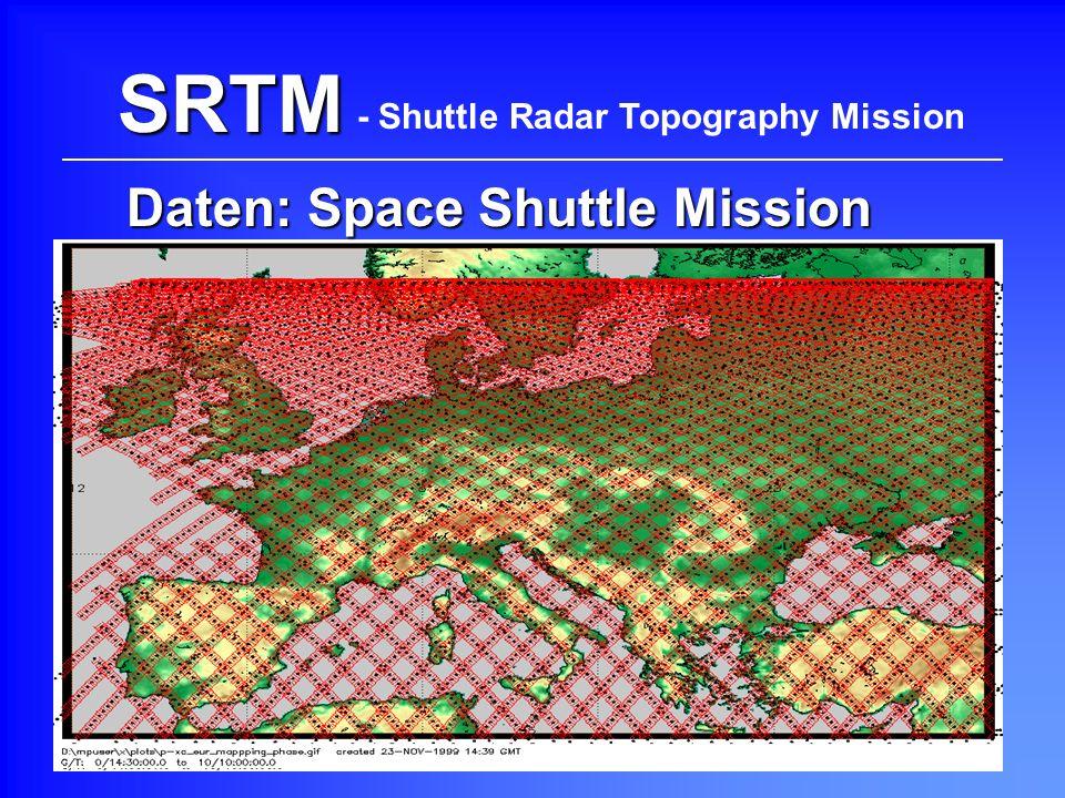 SRTM Daten: Space Shuttle Mission - Shuttle Radar Topography Mission