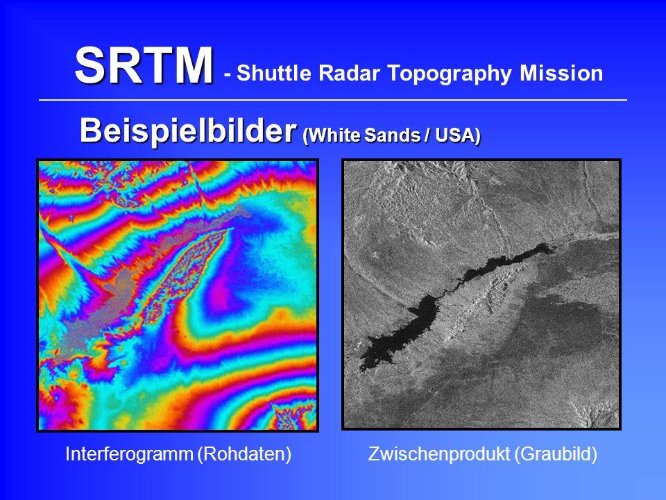 SRTM Beispielbilder (White Sands / USA) - Shuttle Radar Topography Mission Interferogramm (Rohdaten)Zwischenprodukt (Graubild)