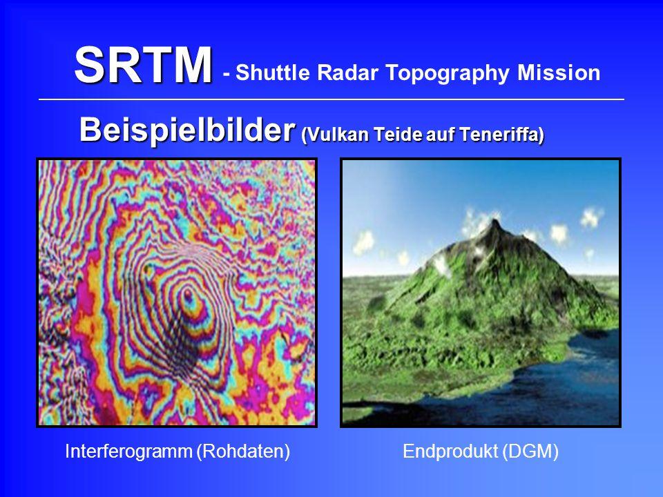 SRTM Beispielbilder (Vulkan Teide auf Teneriffa) - Shuttle Radar Topography Mission Interferogramm (Rohdaten)Endprodukt (DGM)