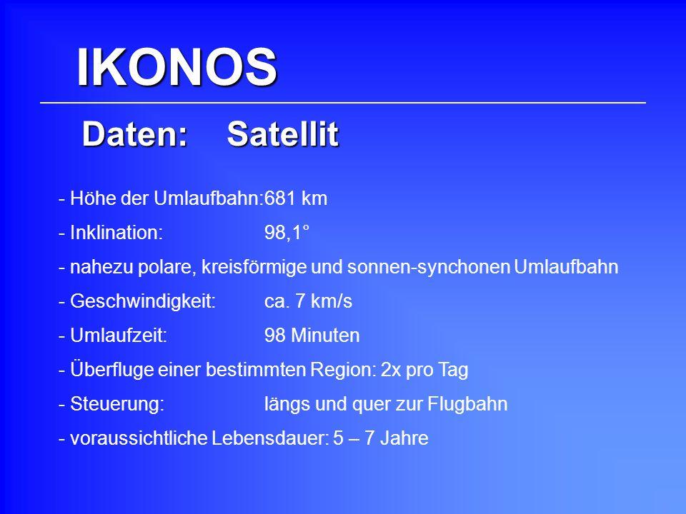 IKONOS Daten: Satellit - Höhe der Umlaufbahn:681 km - Inklination: 98,1° - Geschwindigkeit: ca. 7 km/s - Umlaufzeit: 98 Minuten - nahezu polare, kreis