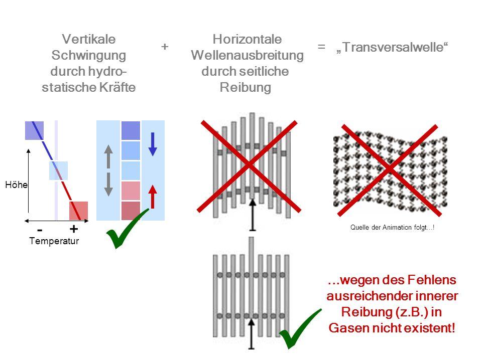 +- Temperatur Vertikale Schwingung Horizontale Wellenausbreitung Transversalwelle Höhe += durch hydro- statische Kräfte durch seitliche Reibung...wege