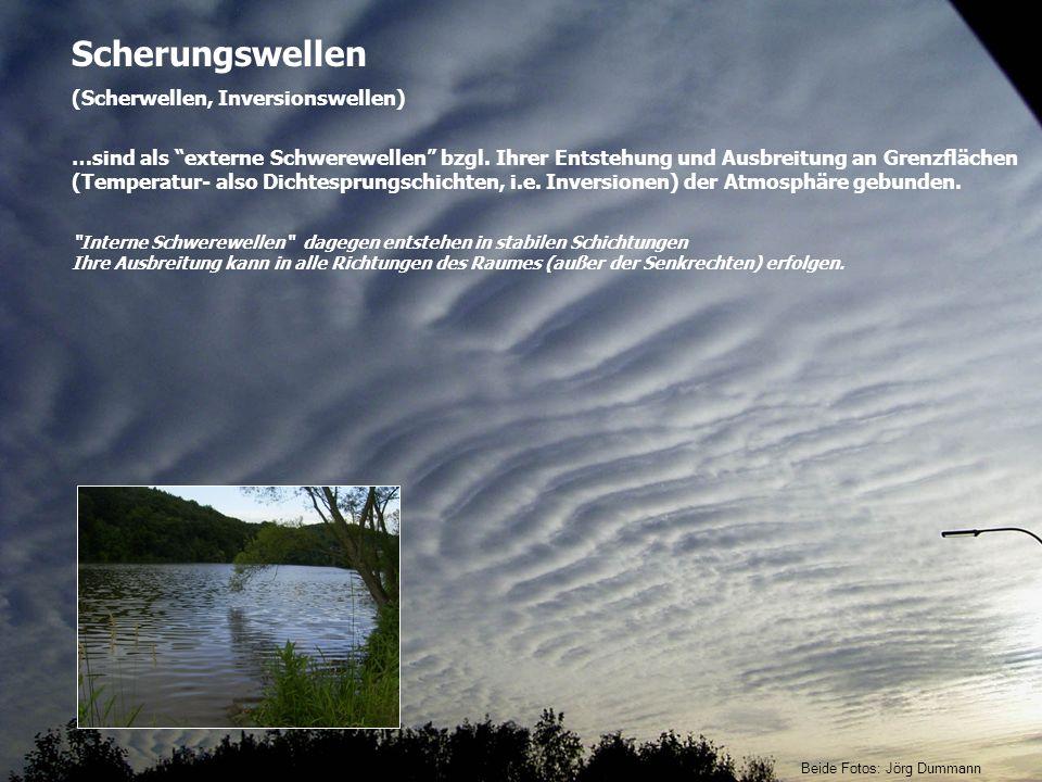 Scherungswellen (Scherwellen, Inversionswellen) …sind als externe Schwerewellen bzgl. Ihrer Entstehung und Ausbreitung an Grenzflächen (Temperatur- al