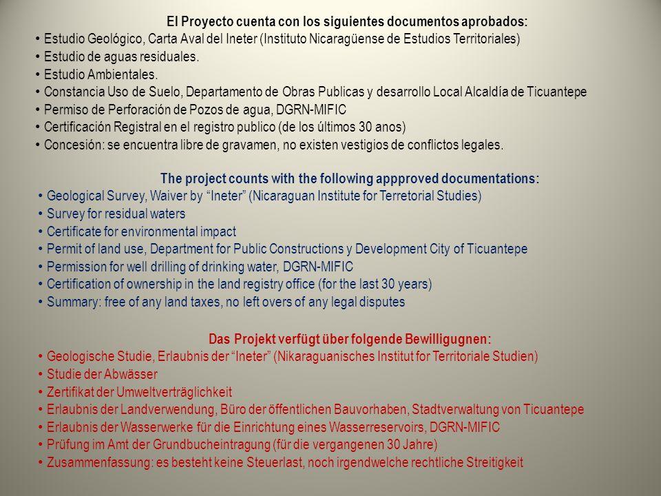 El Proyecto cuenta con los siguientes documentos aprobados: Estudio Geológico, Carta Aval del Ineter (Instituto Nicaragüense de Estudios Territoriales) Estudio de aguas residuales.