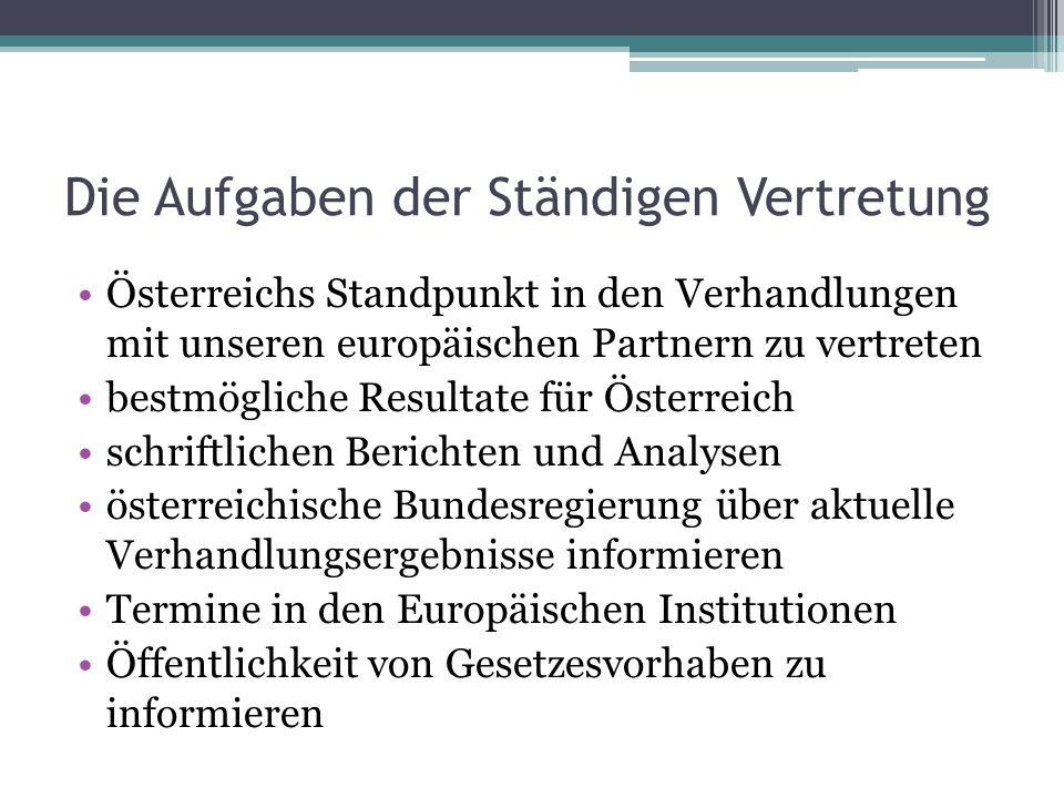 Die Aufgaben der Ständigen Vertretung Österreichs Standpunkt in den Verhandlungen mit unseren europäischen Partnern zu vertreten bestmögliche Resultate für Österreich schriftlichen Berichten und Analysen österreichische Bundesregierung über aktuelle Verhandlungsergebnisse informieren Termine in den Europäischen Institutionen Öffentlichkeit von Gesetzesvorhaben zu informieren