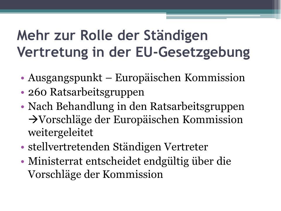 Mehr zur Rolle der Ständigen Vertretung in der EU-Gesetzgebung Ausgangspunkt – Europäischen Kommission 260 Ratsarbeitsgruppen Nach Behandlung in den Ratsarbeitsgruppen Vorschläge der Europäischen Kommission weitergeleitet stellvertretenden Ständigen Vertreter Ministerrat entscheidet endgültig über die Vorschläge der Kommission
