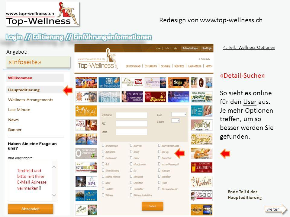 Redesign von www.top-wellness.ch «Infoseite» Angebot: 4.