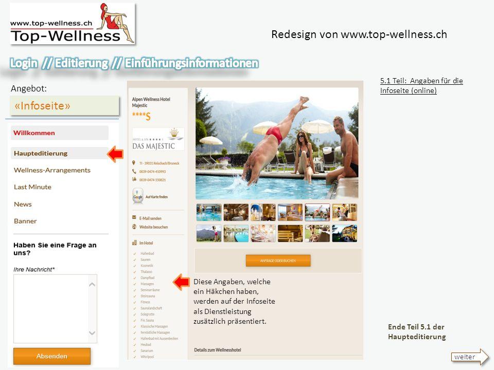 Redesign von www.top-wellness.ch «Infoseite» Angebot: 5.1 Teil: Angaben für die Infoseite (online) Ende Teil 5.1 der Haupteditierung weiter Diese Angaben, welche ein Häkchen haben, werden auf der Infoseite als Dienstleistung zusätzlich präsentiert.
