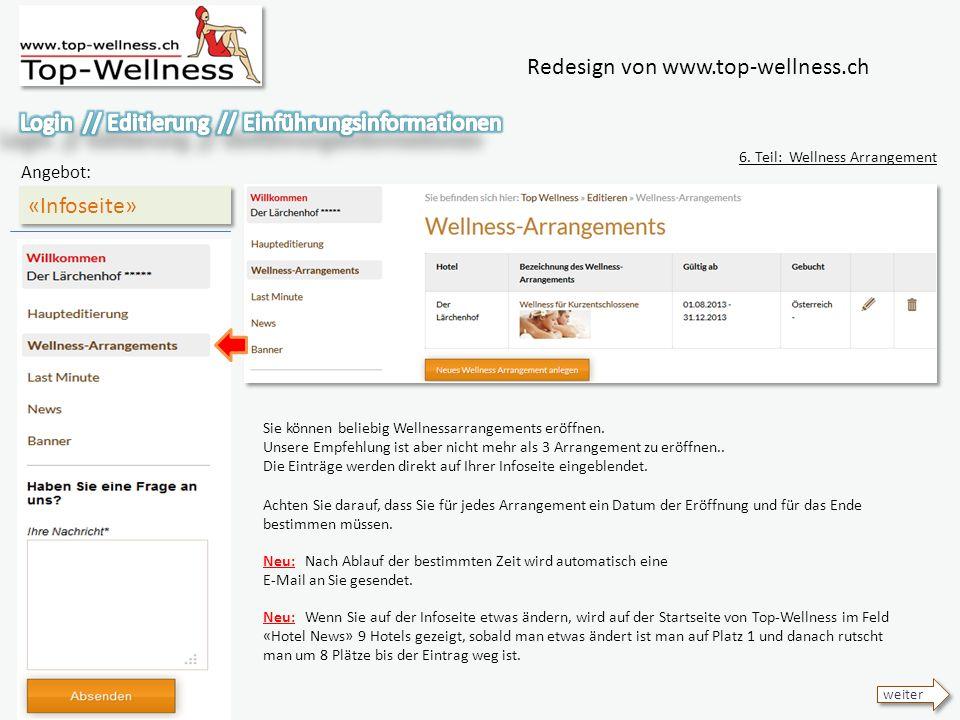 Redesign von www.top-wellness.ch «Infoseite» Angebot: 6.