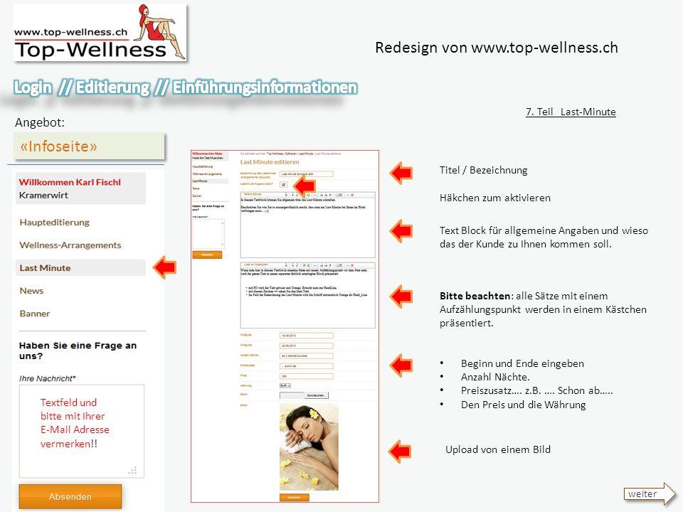 Redesign von www.top-wellness.ch «Infoseite» Angebot: 7.