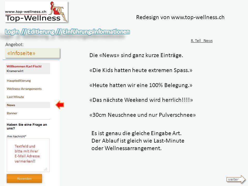 Redesign von www.top-wellness.ch «Infoseite» Angebot: 8.