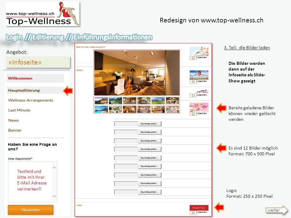 Redesign von www.top-wellness.ch «Infoseite» Angebot: 3.