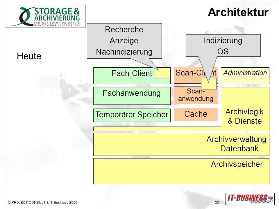 © PROJECT CONSULT & IT-Business 2009 33 Archivlogik & Dienste Administration Archivverwaltung Datenbank Archivspeicher Fach-Client Fachanwendung Tempo