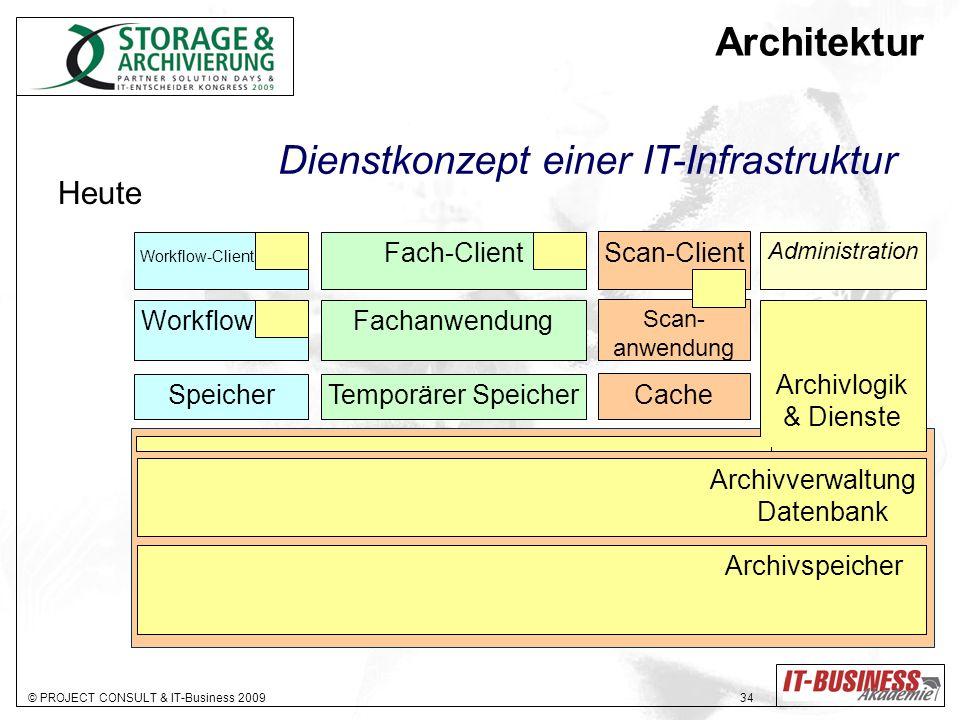 © PROJECT CONSULT & IT-Business 2009 34 Archivlogik & Dienste Administration Archivverwaltung Datenbank Archivspeicher Fach-Client Fachanwendung Tempo