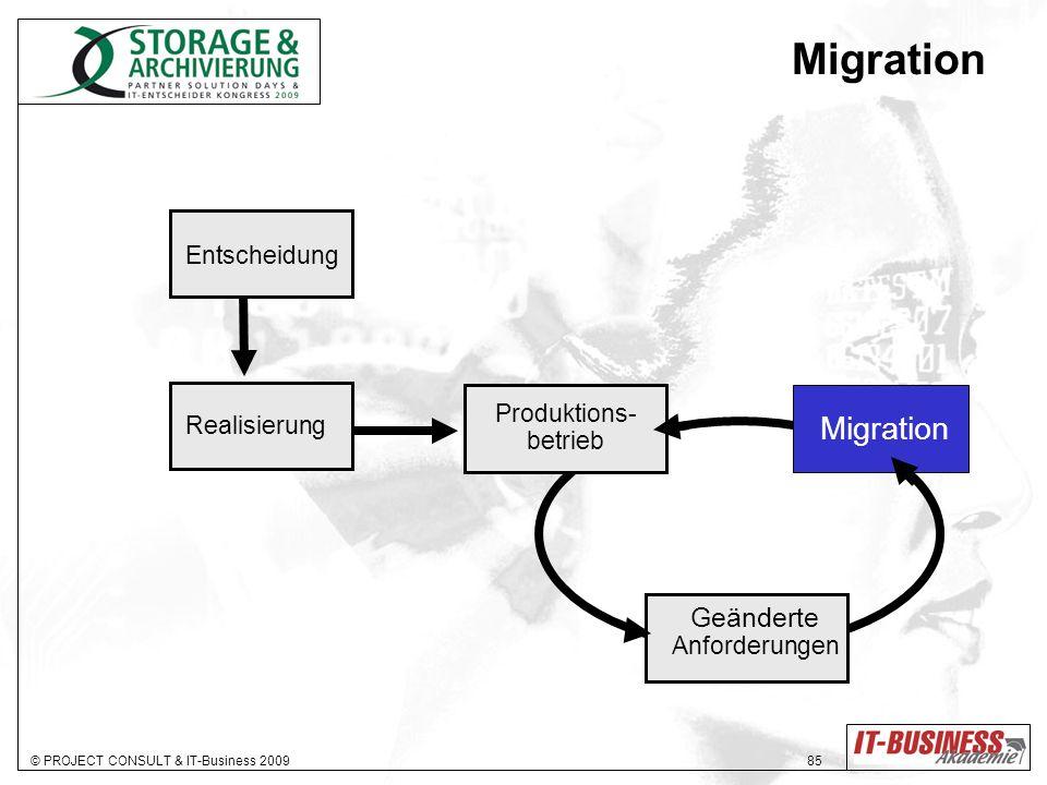 © PROJECT CONSULT & IT-Business 2009 85 Migration Entscheidung Realisierung Produktions- betrieb Geänderte Anforderungen Migration