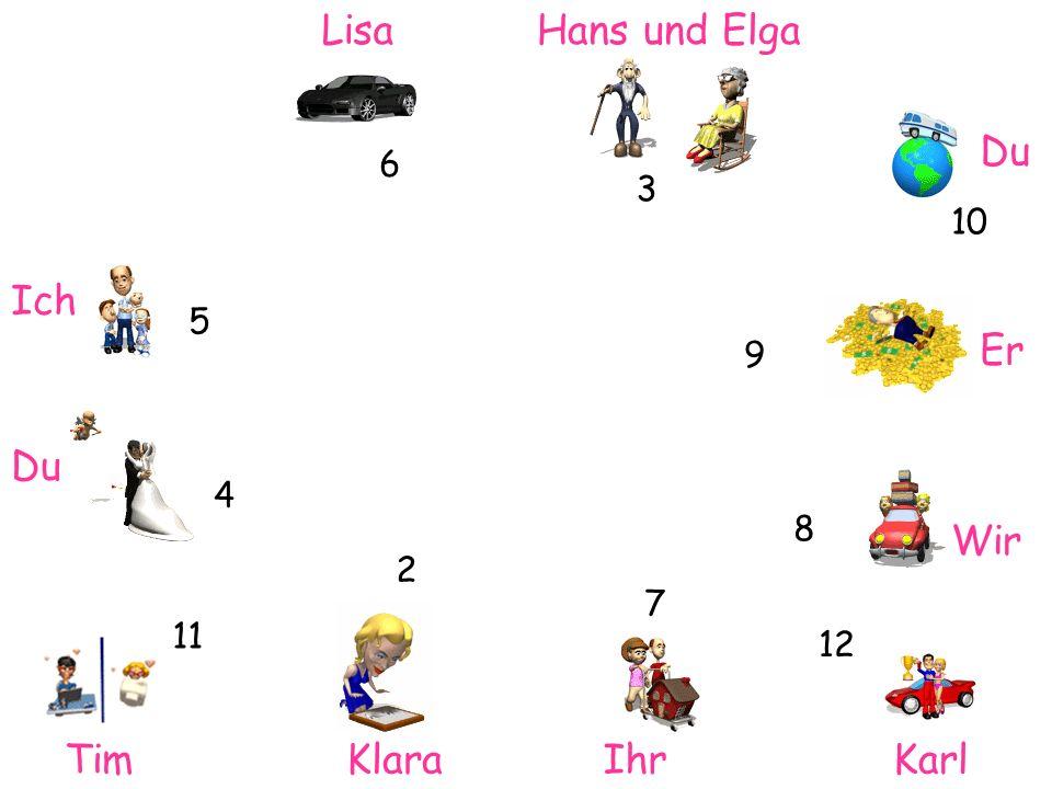Lisa Ich Hans und Elga Du Er Wir TimIhrKlaraKarl 6 3 2 4 10 11 7 12 5 8 9