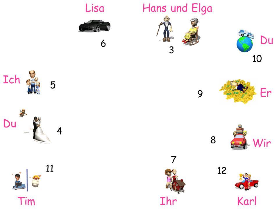 Lisa Ich Hans und Elga Du Er Wir TimIhrKarl 6 3 4 10 11 7 12 5 8 9