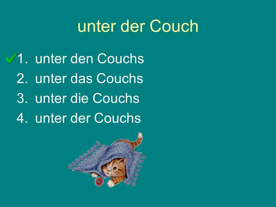unter der Couch 1.unter den Couchs 2.unter das Couchs 3.unter die Couchs 4.unter der Couchs
