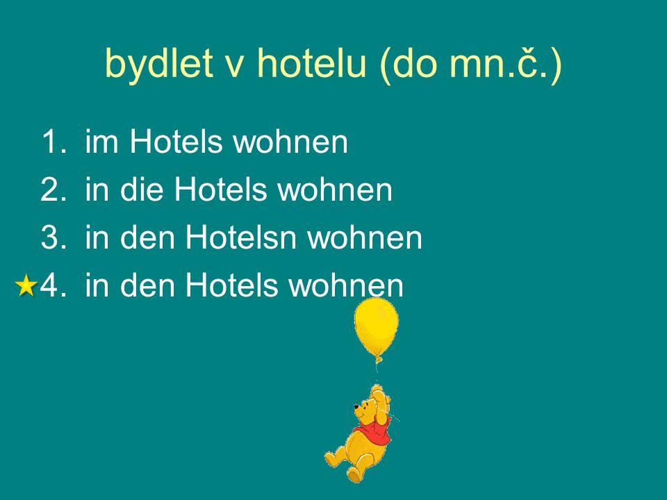 bydlet v hotelu (do mn.č.) 1.im Hotels wohnen 2.in die Hotels wohnen 3.in den Hotelsn wohnen 4.in den Hotels wohnen