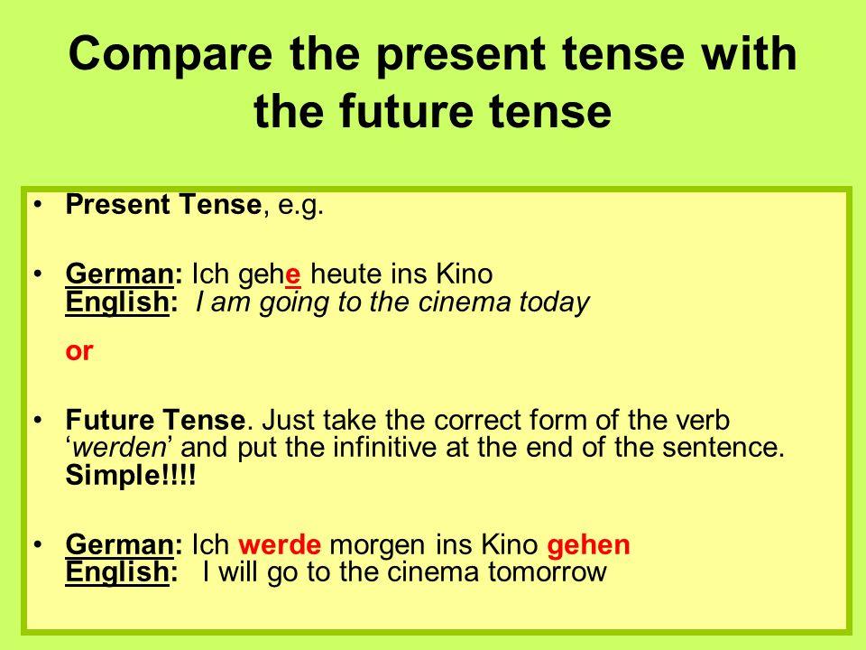 Compare the present tense with the future tense Present Tense, e.g.