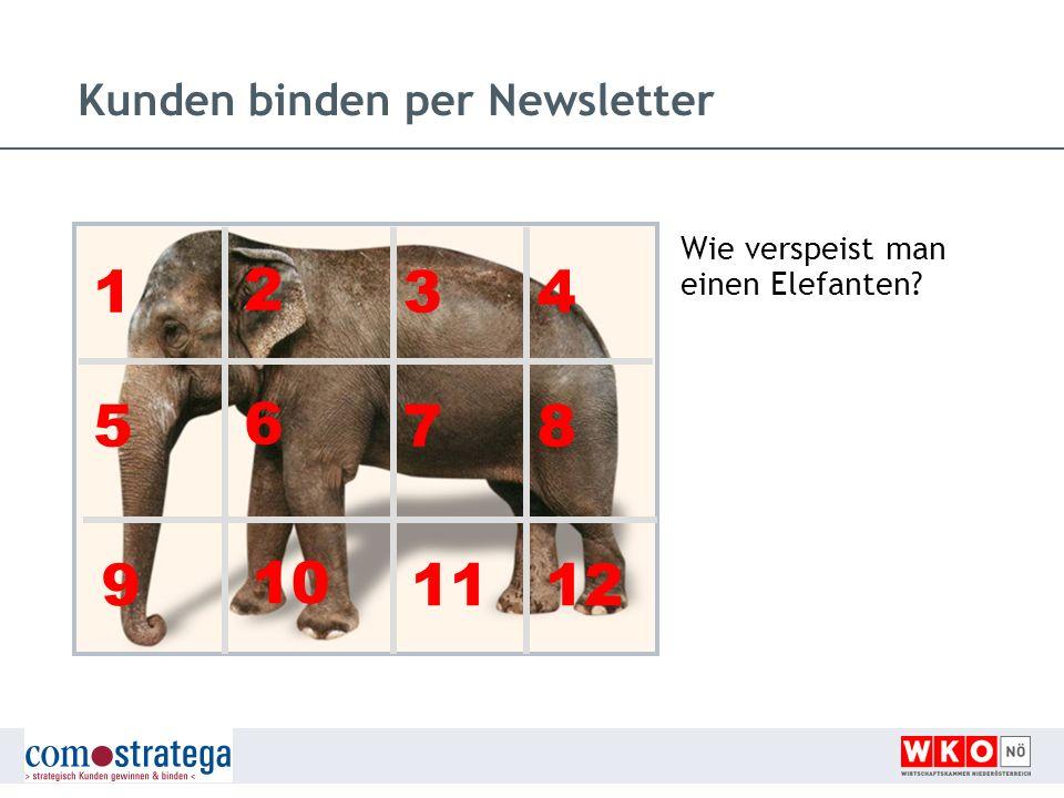 Kunden binden per Newsletter Wie verspeist man einen Elefanten? 1 2 34 5 6 78 9 10 1112