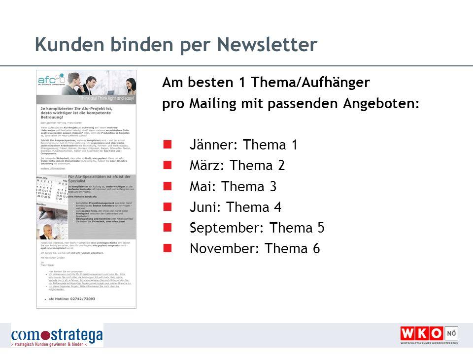 Kunden binden per Newsletter Am besten 1 Thema/Aufhänger pro Mailing mit passenden Angeboten: Jänner: Thema 1 März: Thema 2 Mai: Thema 3 Juni: Thema 4
