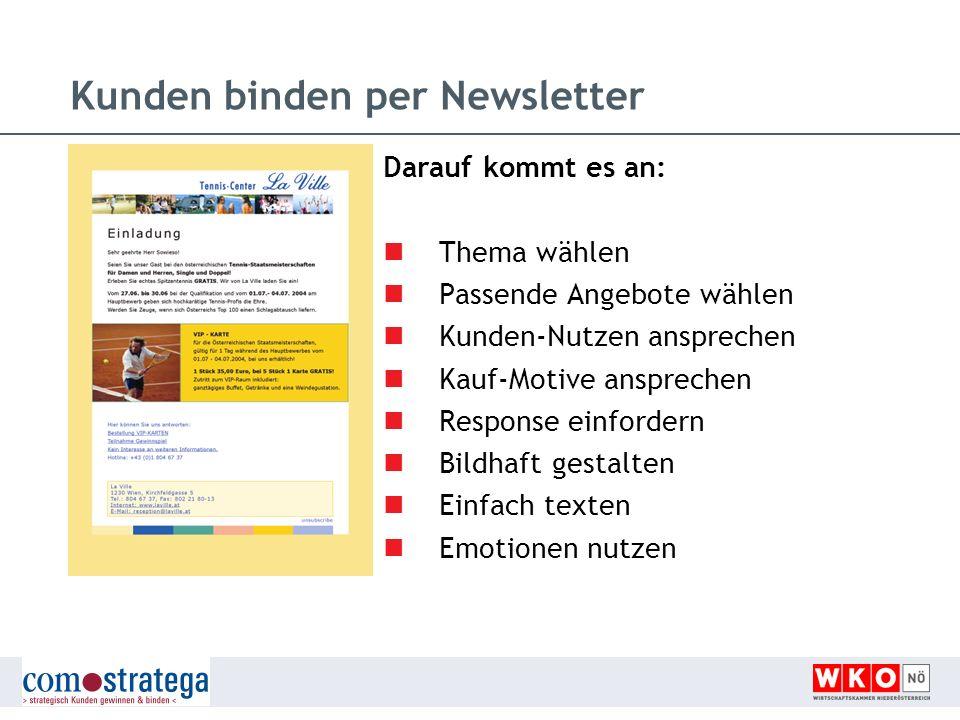 Kunden binden per Newsletter Darauf kommt es an: Thema wählen Passende Angebote wählen Kunden-Nutzen ansprechen Kauf-Motive ansprechen Response einfor