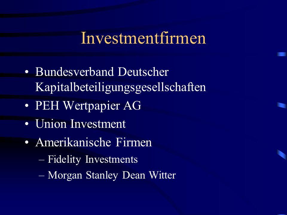 Investmentfirmen Bundesverband Deutscher Kapitalbeteiligungsgesellschaften PEH Wertpapier AG Union Investment Amerikanische Firmen –Fidelity Investments –Morgan Stanley Dean Witter