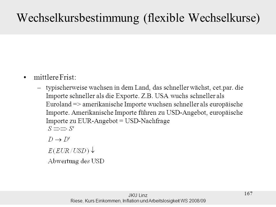 JKU Linz Riese, Kurs Einkommen, Inflation und Arbeitslosigkeit WS 2008/09 Wechselkursbestimmung (flexible Wechselkurse) mittlere Frist: –typischerweis