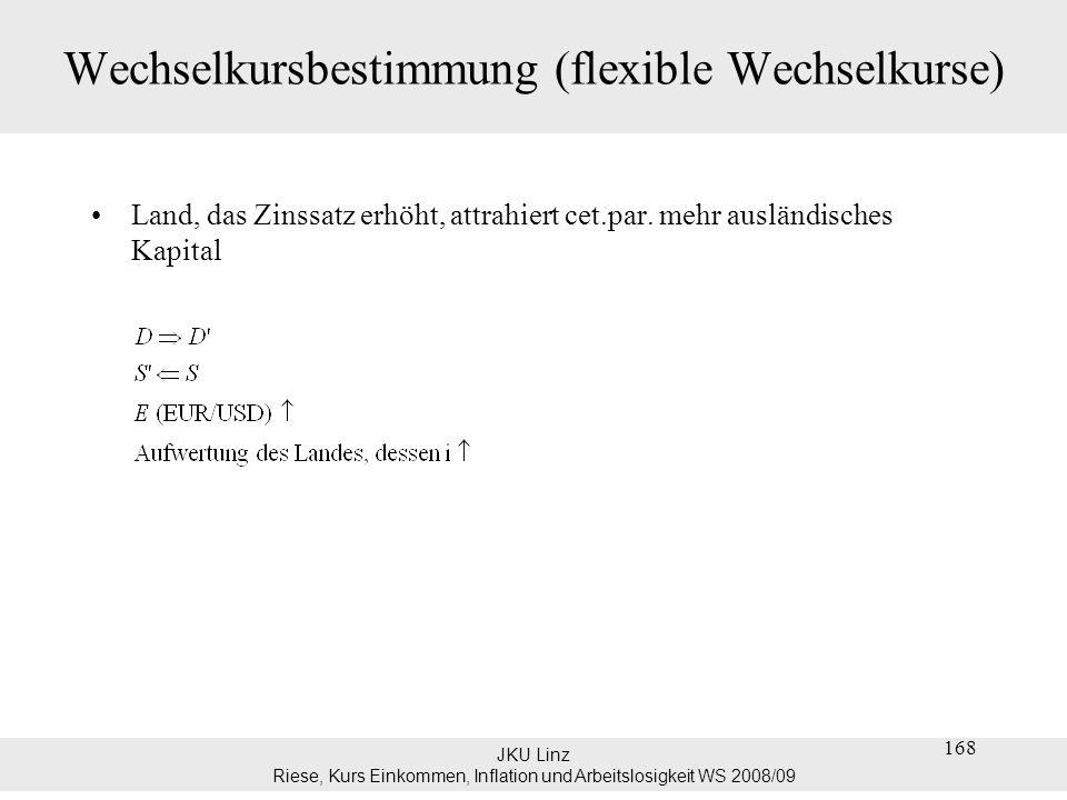 JKU Linz Riese, Kurs Einkommen, Inflation und Arbeitslosigkeit WS 2008/09 Wechselkursbestimmung (flexible Wechselkurse) Land, das Zinssatz erhöht, att