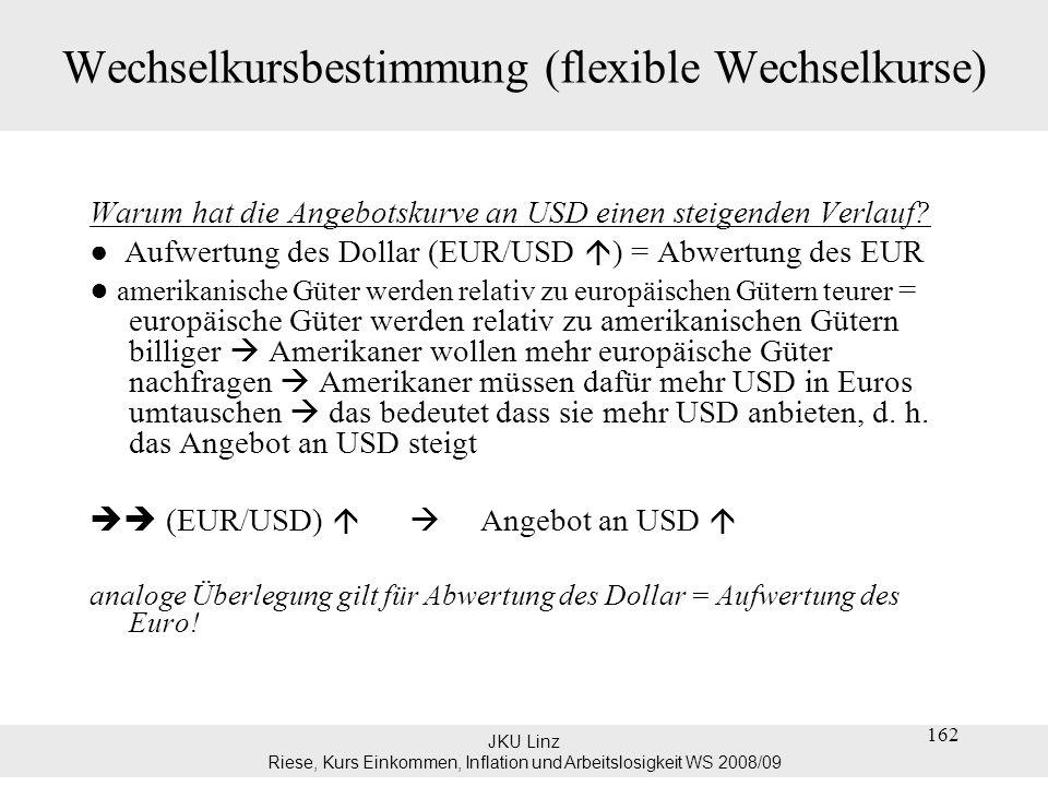 JKU Linz Riese, Kurs Einkommen, Inflation und Arbeitslosigkeit WS 2008/09 Wechselkursbestimmung (flexible Wechselkurse) Der gleichgewichtige Wechselkurs ergibt sich im Punkt A = Schnittpunkt von Angebot und Nachfrage nach USD Das heißt im Gleichgewicht ist die Menge der nachgefragten USD (=USD welche die Europäer kaufen wollen) gleich der Menge der angebotenen USD (=USD welche die Amerikaner verkaufen wollen) 163