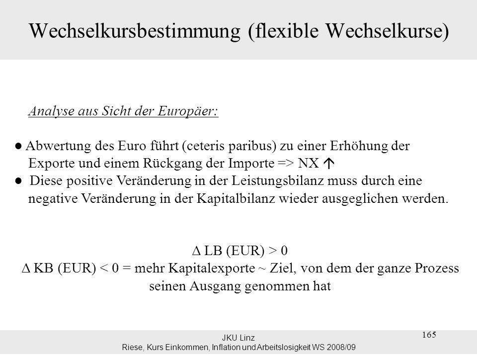 JKU Linz Riese, Kurs Einkommen, Inflation und Arbeitslosigkeit WS 2008/09 Wechselkursbestimmung (flexible Wechselkurse) sehr langfristig: Kaufkraftparitätentheorie (purchasing power parity): –law of one price: P = P*.