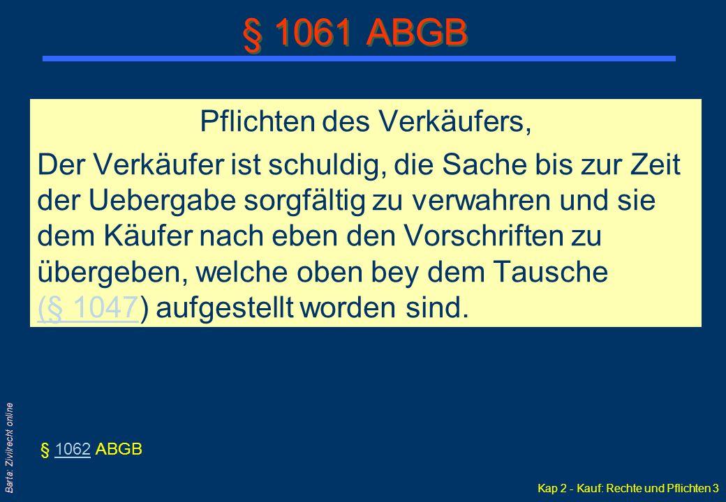 Kap 2 - Kauf: Rechte und Pflichten 4 Barta: Zivilrecht online und des Käufers.