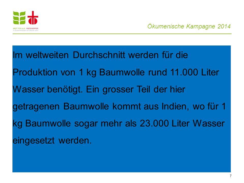 Ökumenische Kampagne 2014 7 Im weltweiten Durchschnitt werden für die Produktion von 1 kg Baumwolle rund 11.000 Liter Wasser benötigt. Ein grosser Tei