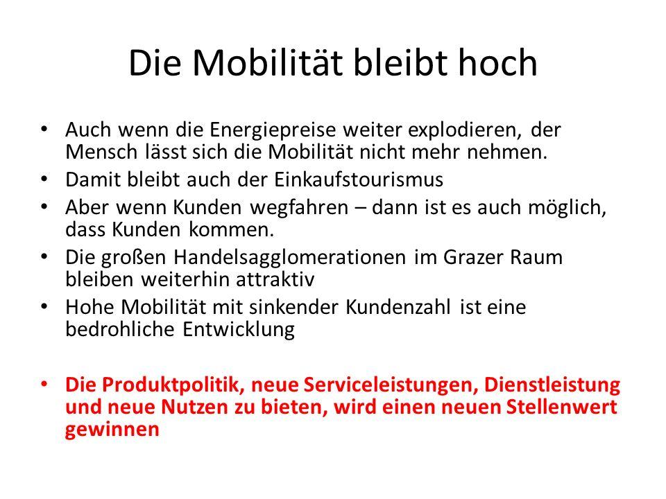 Die Mobilität bleibt hoch Auch wenn die Energiepreise weiter explodieren, der Mensch lässt sich die Mobilität nicht mehr nehmen. Damit bleibt auch der