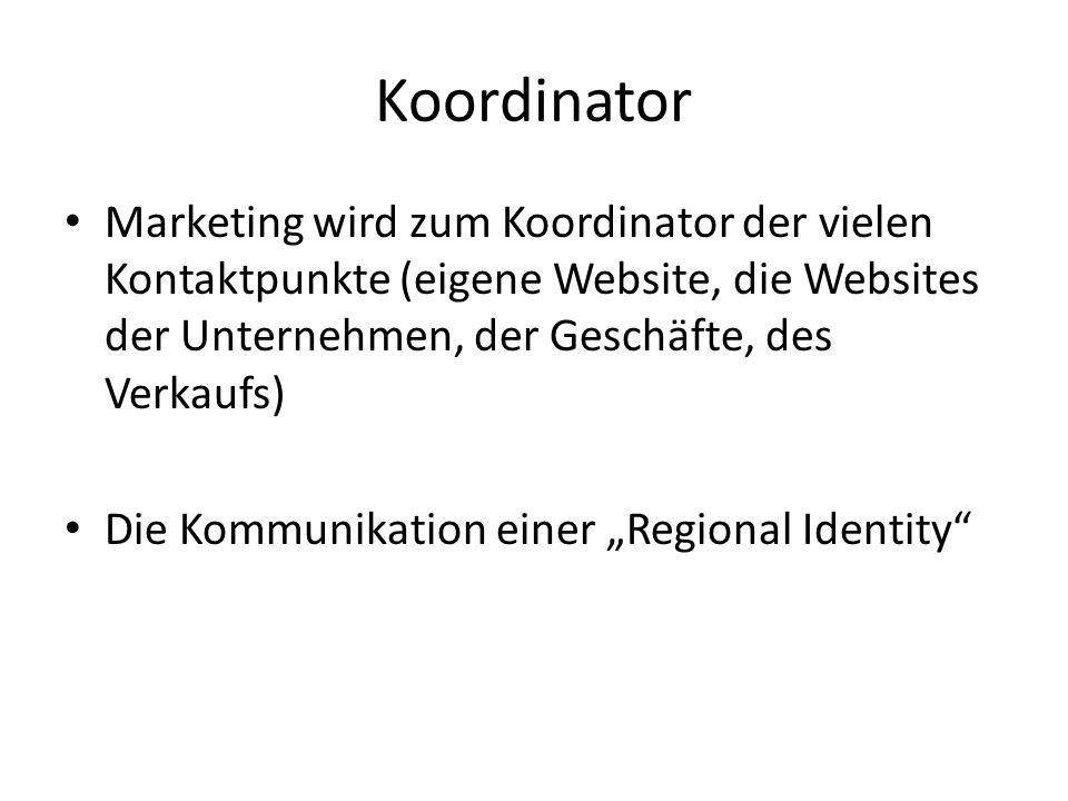 Koordinator Marketing wird zum Koordinator der vielen Kontaktpunkte (eigene Website, die Websites der Unternehmen, der Geschäfte, des Verkaufs) Die Kommunikation einer Regional Identity