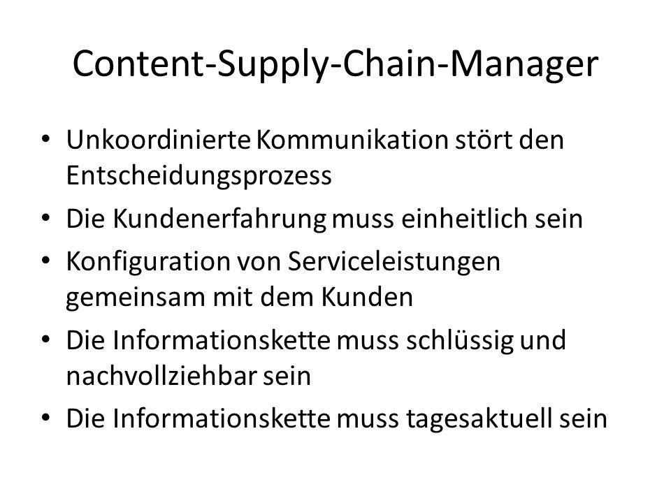Content-Supply-Chain-Manager Unkoordinierte Kommunikation stört den Entscheidungsprozess Die Kundenerfahrung muss einheitlich sein Konfiguration von Serviceleistungen gemeinsam mit dem Kunden Die Informationskette muss schlüssig und nachvollziehbar sein Die Informationskette muss tagesaktuell sein