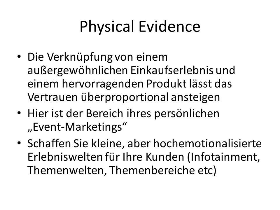 Physical Evidence Die Verknüpfung von einem außergewöhnlichen Einkaufserlebnis und einem hervorragenden Produkt lässt das Vertrauen überproportional a