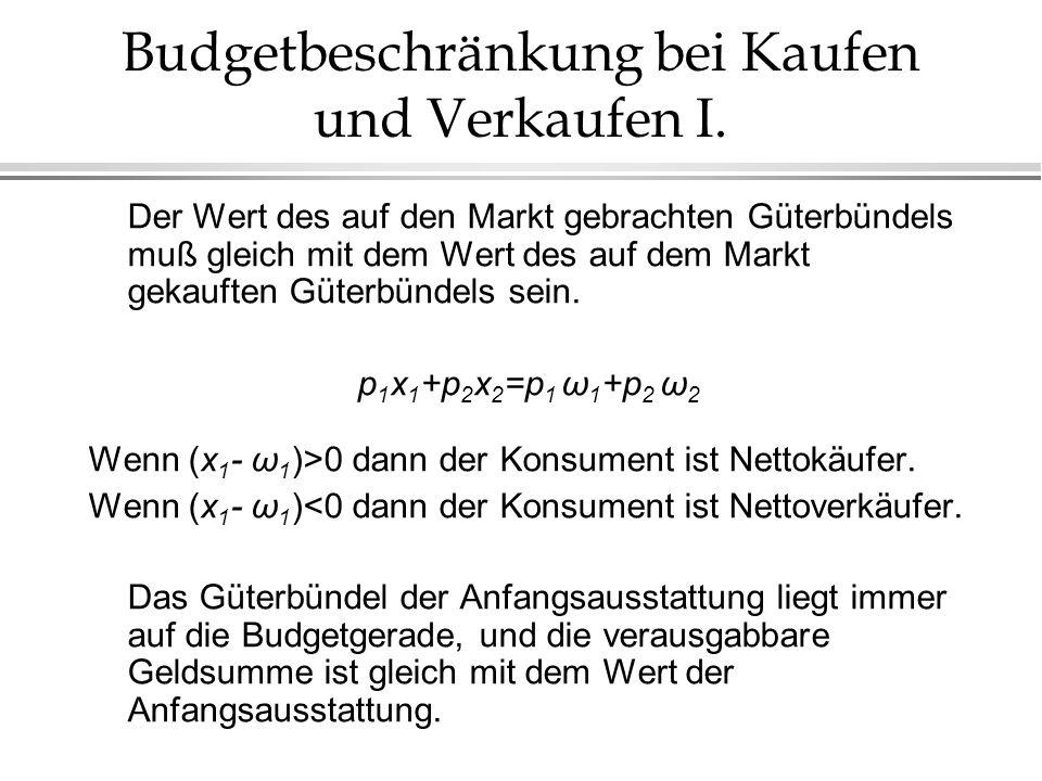 Budgetbeschränkung bei Kaufen und Verkaufen II.