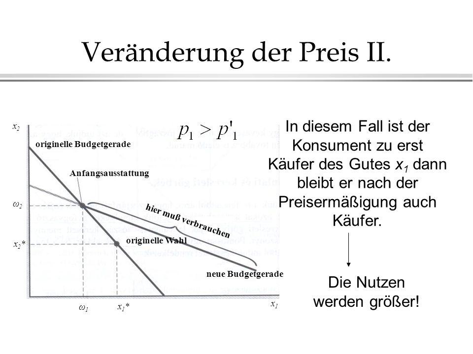 Preis-Konsum-Kurve und individuelle Nachfragekurve Steigung= -p 1 /p 2 PKK Indifferenzkurve Anfangs- ausstattung x2x2 x1x1 ω2ω2 ω1ω1 PKK verläuft immer durch den Punkt der Anfangsausstattung.