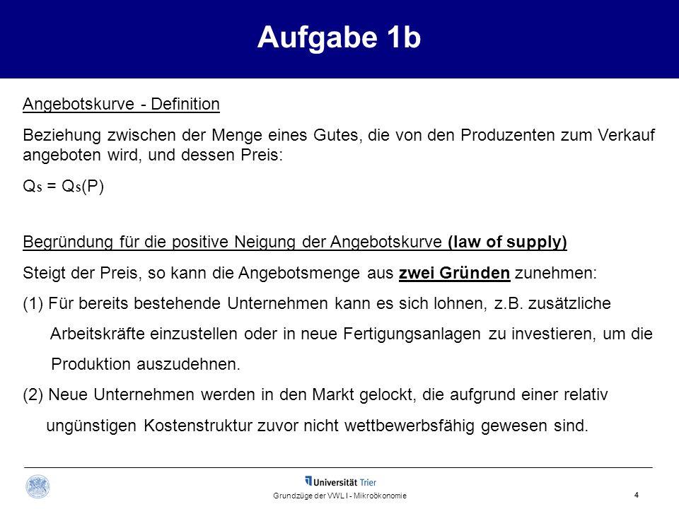 Aufgabe 1b 4 Grundzüge der VWL I - Mikroökonomie Begründung für die positive Neigung der Angebotskurve (law of supply) Steigt der Preis, so kann die A