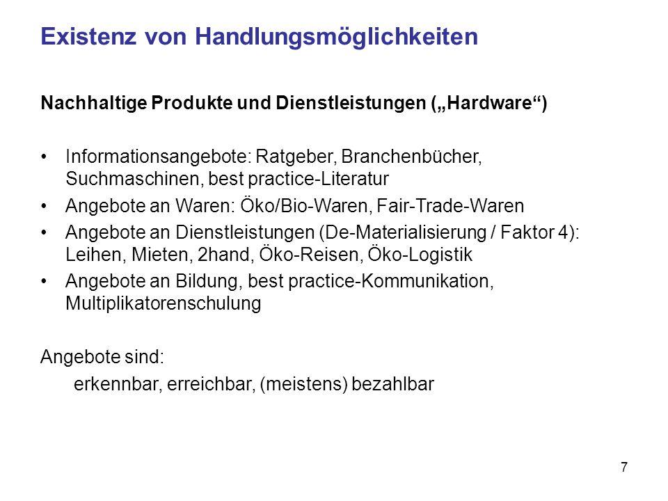 7 Existenz von Handlungsmöglichkeiten Nachhaltige Produkte und Dienstleistungen (Hardware) Informationsangebote: Ratgeber, Branchenbücher, Suchmaschinen, best practice-Literatur Angebote an Waren: Öko/Bio-Waren, Fair-Trade-Waren Angebote an Dienstleistungen (De-Materialisierung / Faktor 4): Leihen, Mieten, 2hand, Öko-Reisen, Öko-Logistik Angebote an Bildung, best practice-Kommunikation, Multiplikatorenschulung Angebote sind: erkennbar, erreichbar, (meistens) bezahlbar