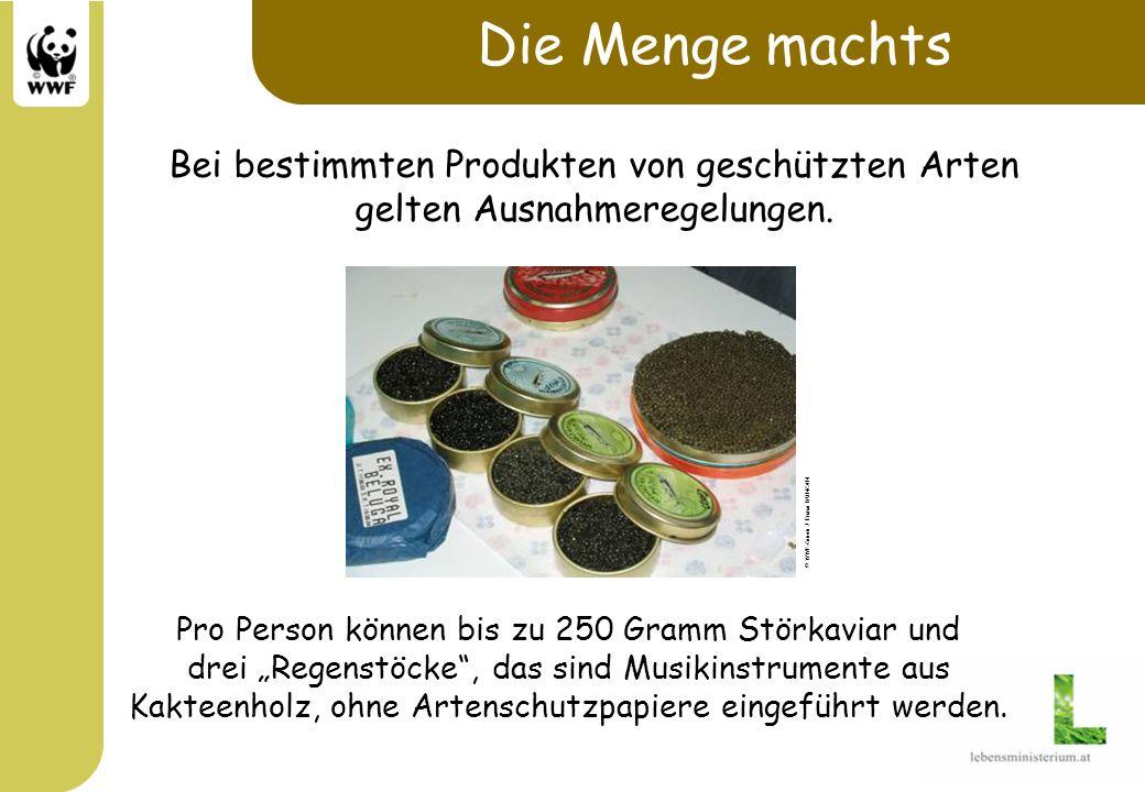 Die Menge machts Bei bestimmten Produkten von geschützten Arten gelten Ausnahmeregelungen. Pro Person können bis zu 250 Gramm Störkaviar und drei Rege